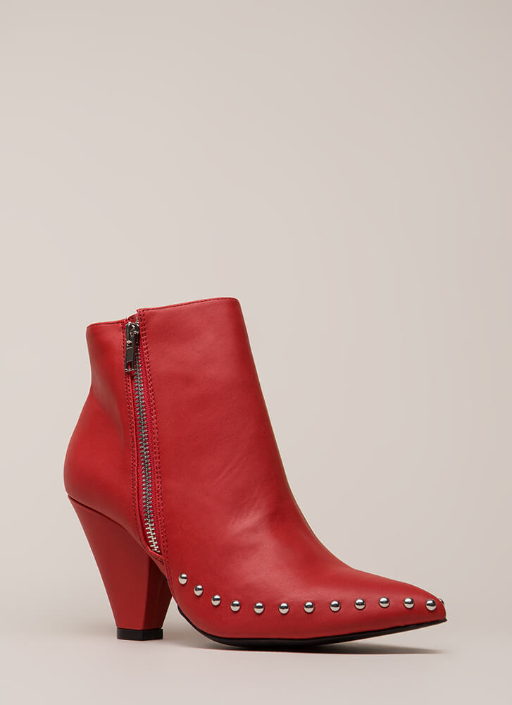 Studded Superstar Cone Heel Booties RED