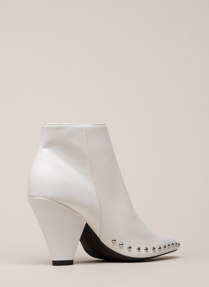 Studded Superstar Cone Heel Booties WHITE