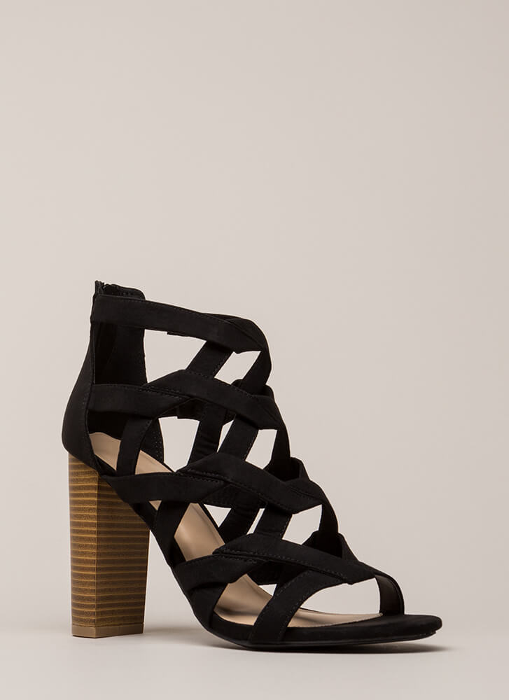 Knot Stuff Cut-Out Caged Chunk\y Heels BLACK