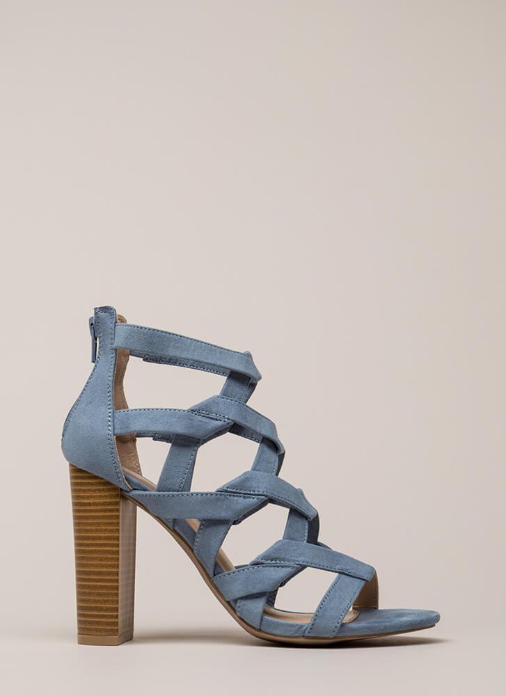 Knot Stuff Cut-Out Caged Chunk\y Heels BLUE