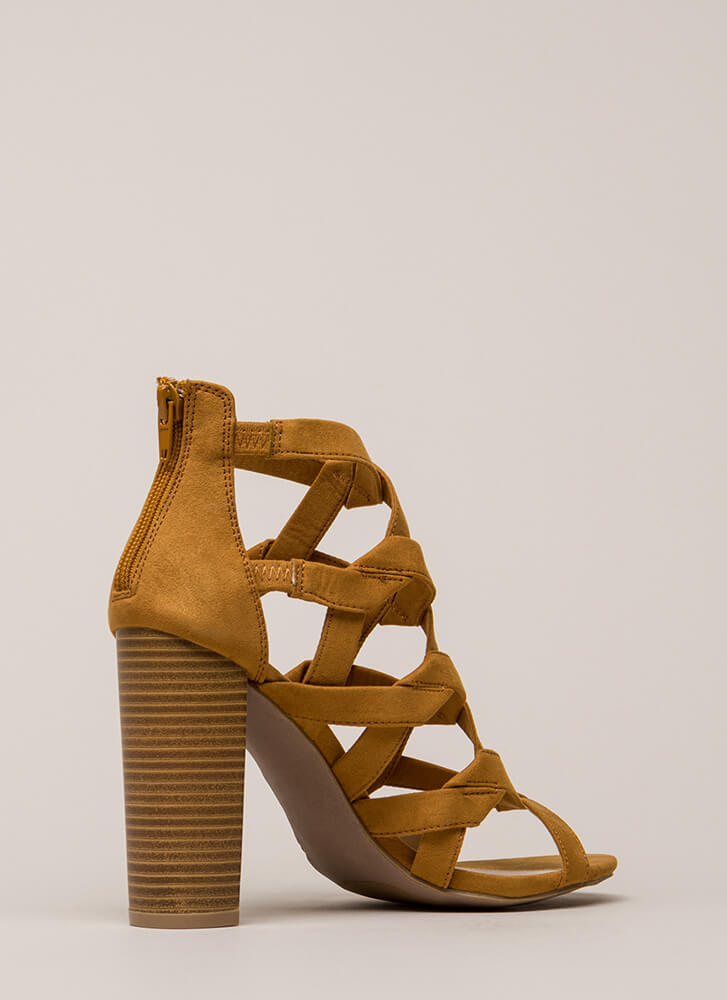 Knot Stuff Cut-Out Caged Chunk\y Heels CAMEL