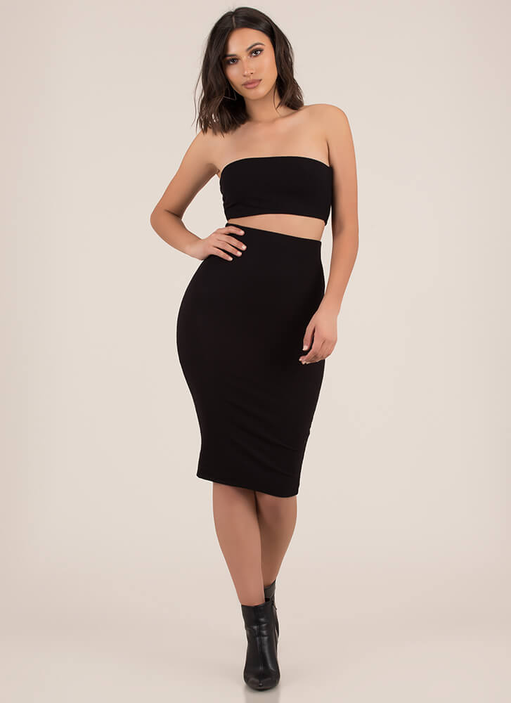 Match Game Ribbed Top And Skirt Set BLACK