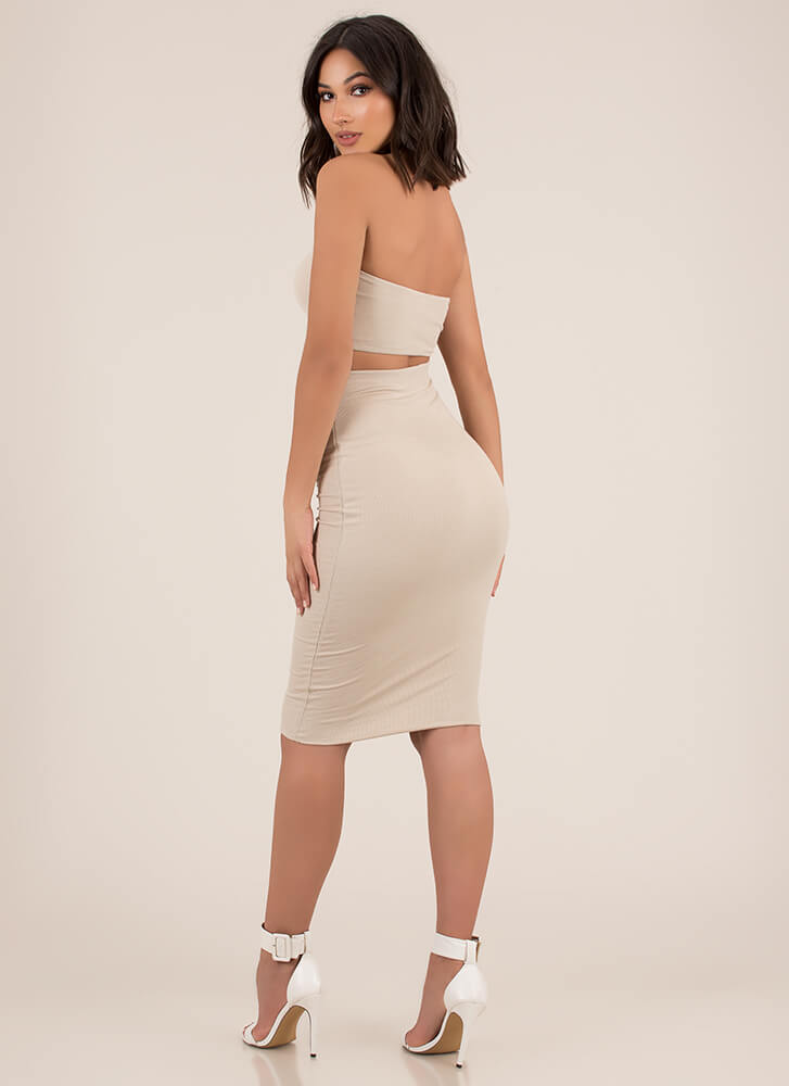 Match Game Ribbed Top And Skirt Set TAUPE