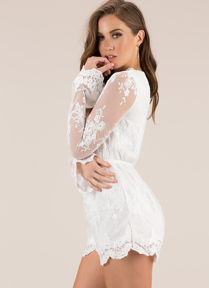 Lovely In Lace Scalloped Romper WHITE