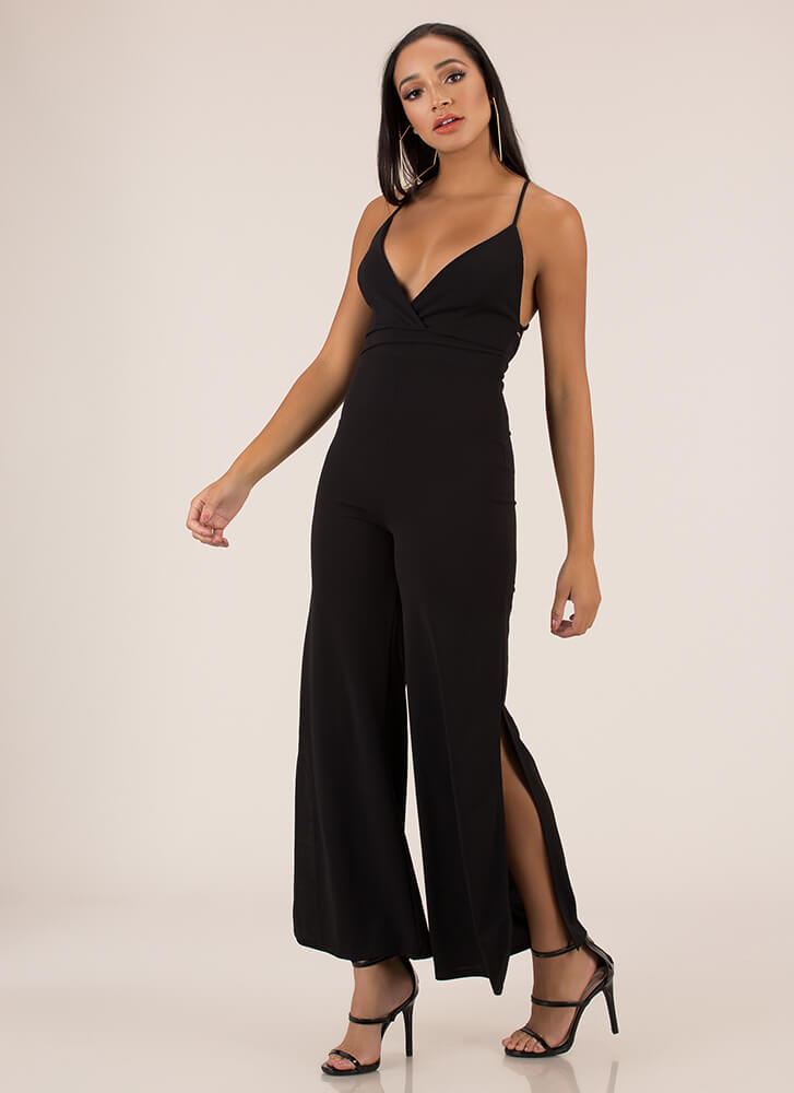 Oh Slit Lace-Back Palazzo Jumpsuit BLACK