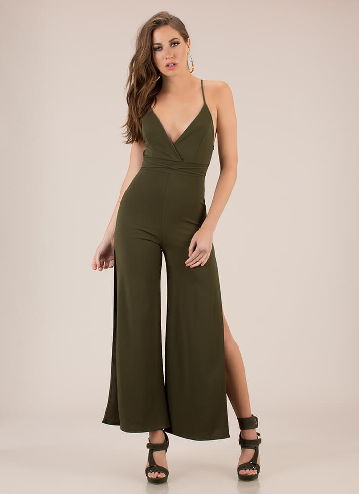 Oh Slit Lace-Back Palazzo Jumpsuit OLIVE