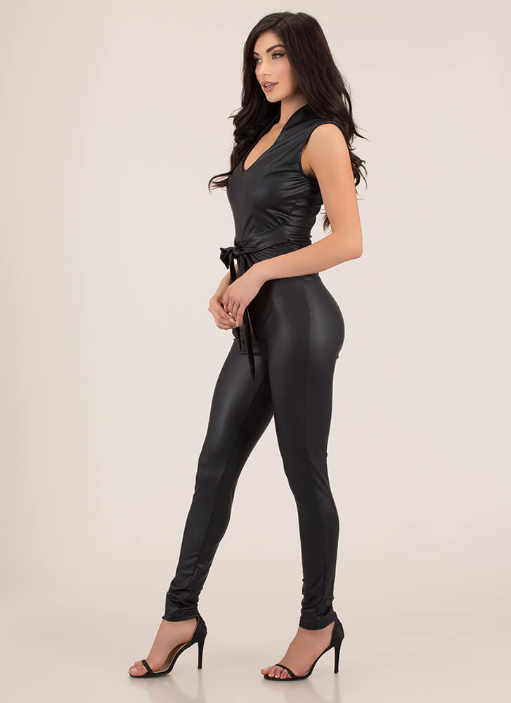 Fit In Perfectly Faux Leather Jumpsuit BLACK (Final Sale)