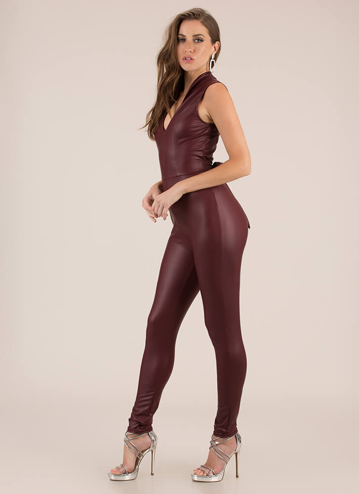 Fit In Perfectly Faux Leather Jumpsuit BURGUNDY (Final Sale)
