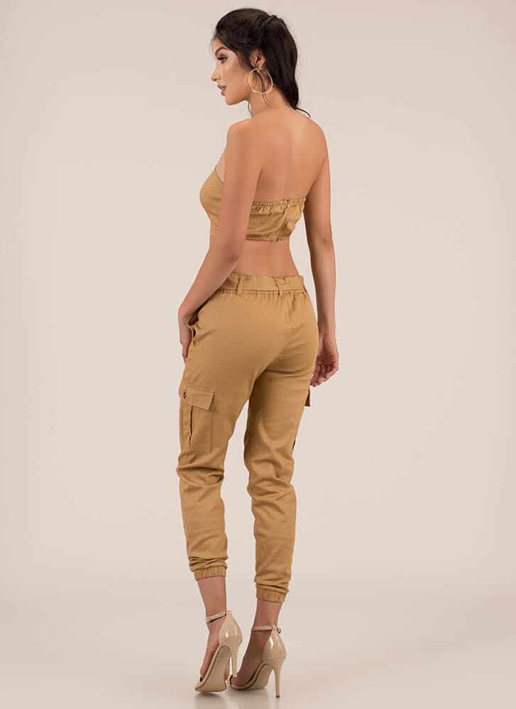 Cargo Jane Tube Top And Jogger Set CAMEL