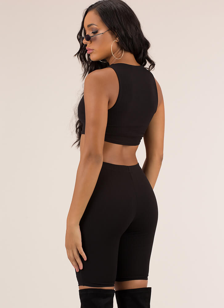 A Perfect Match Top And Shorts Set BLACK