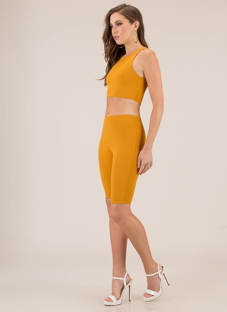 A Perfect Match Top And Shorts Set MUSTARD