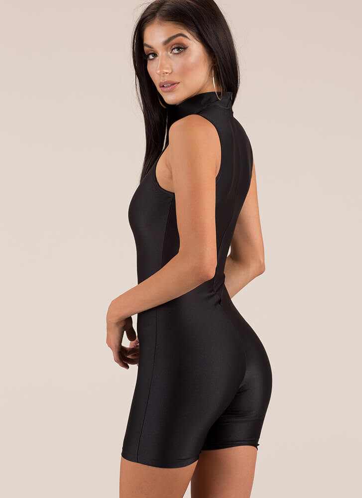 Like A Glove Mockneck Nylon Romper BLACK