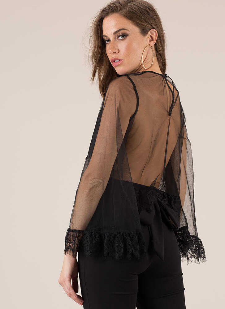 Sheer Beauty Bell-Sleeve Lace Top BLACK
