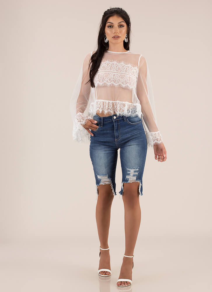 Sheer Beauty Bell-Sleeve Lace Top WHITE