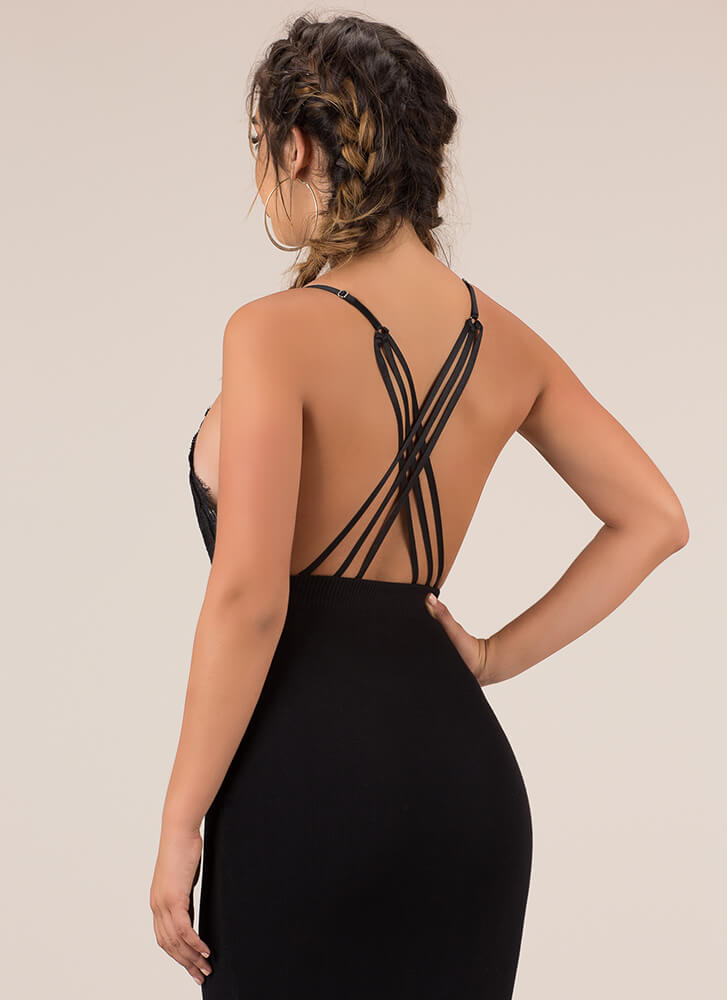 Lady Lace Strappy Back Thong Bodysuit BLACK (You Saved $22)