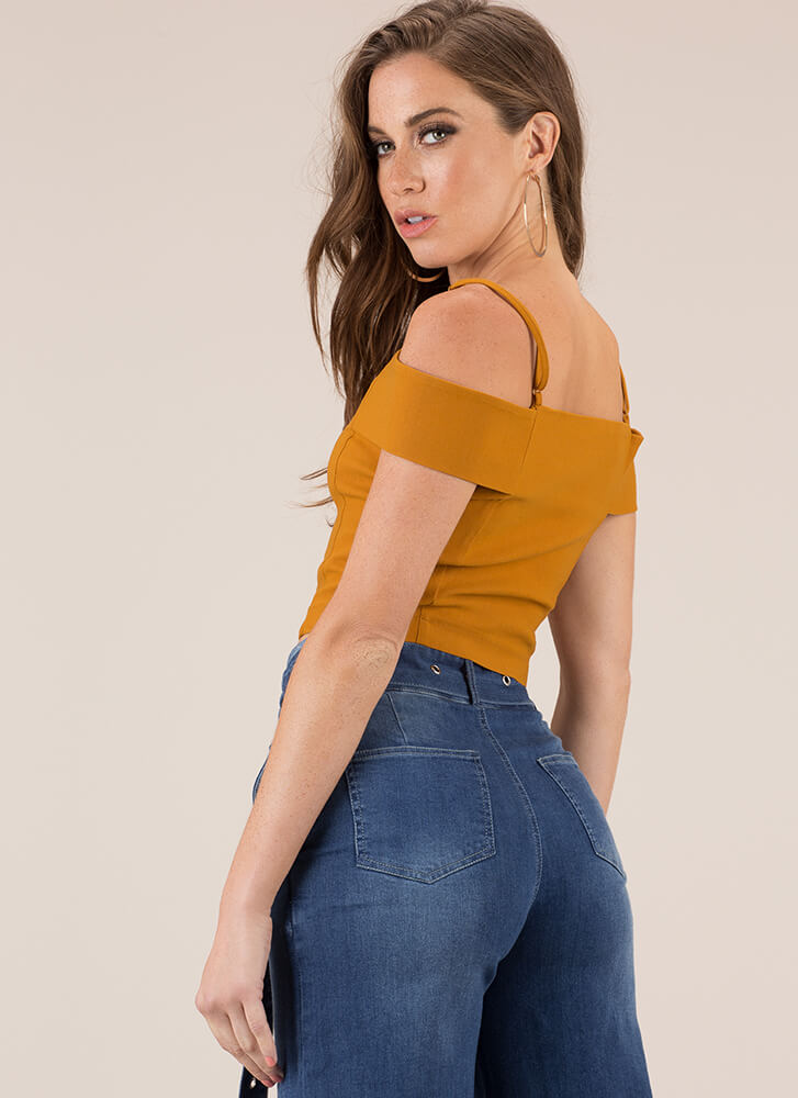My Heart Zips A Beat Cold-Shoulder Top MUSTARD