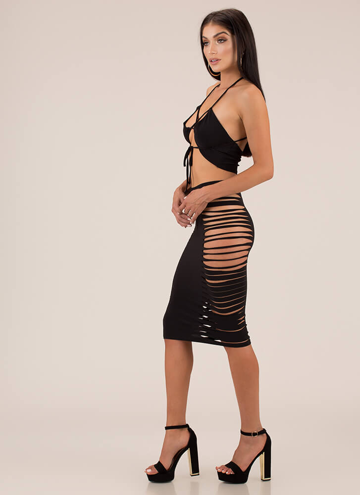 Good Skin Cut-Out Top And Skirt Set BLACK