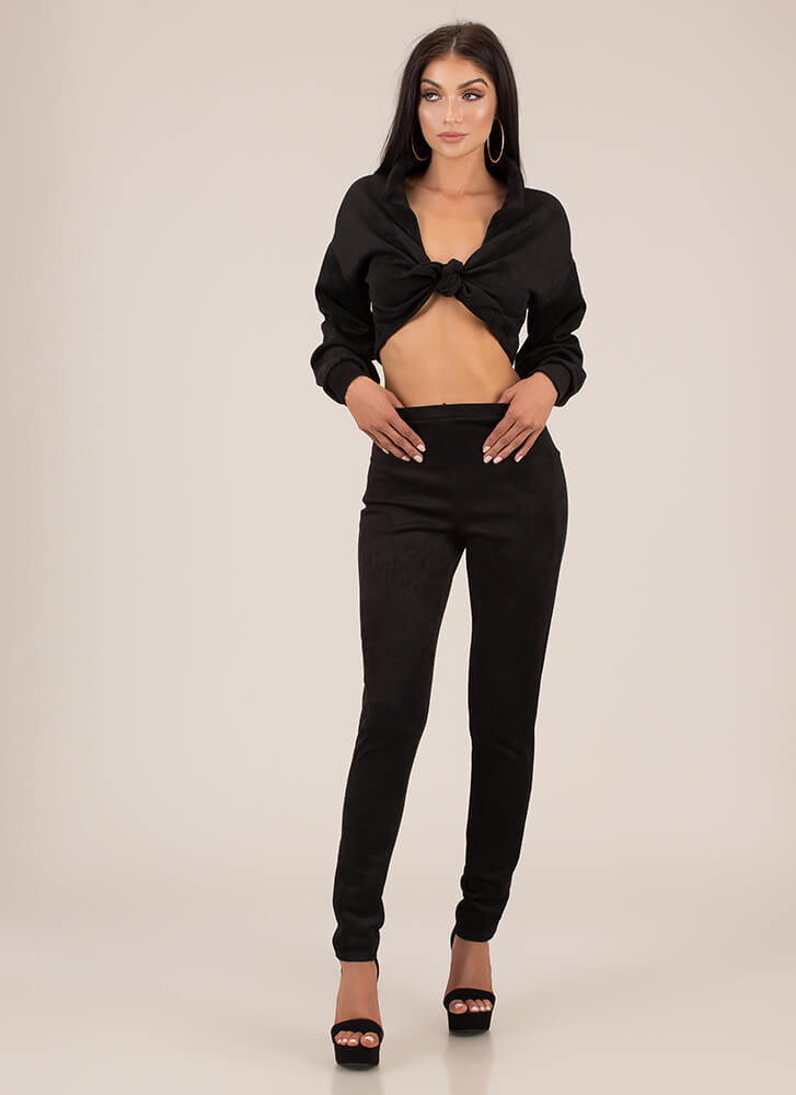 To Tie For Faux Suede Top And Pant Set BLACK
