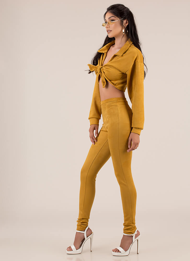 To Tie For Faux Suede Top And Pant Set MUSTARD