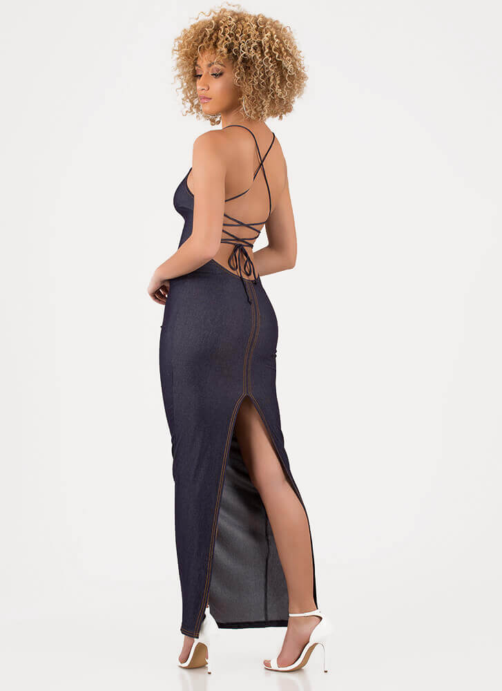 Turn Of Events Lace-Back Maxi Dress DKBLUE