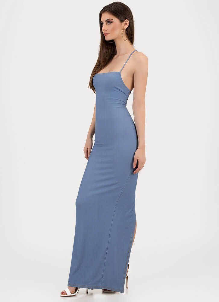 Turn Of Events Lace-Back Maxi Dress LTBLUE