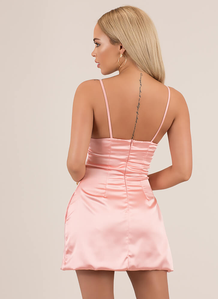 Perfect Fit And Flare Satin Minidress BLUSH