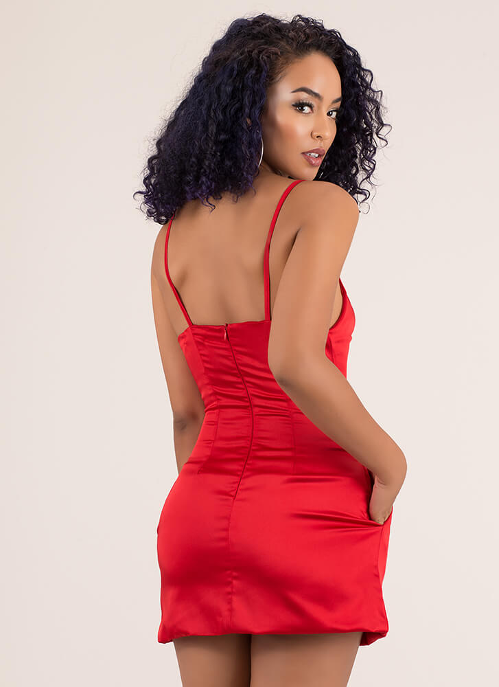 Perfect Fit And Flare Satin Minidress RED