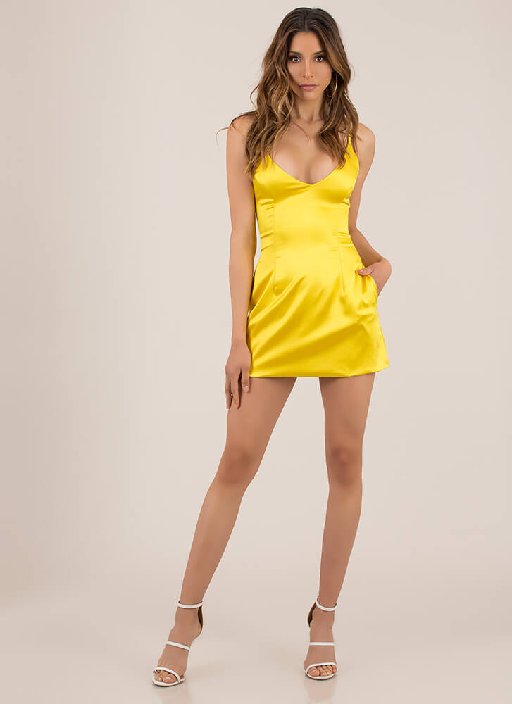 Perfect Fit And Flare Satin Minidress YELLOW