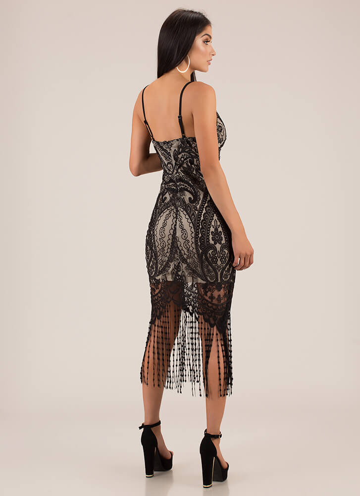 You're Invited Lace Fringe Dress BLACK