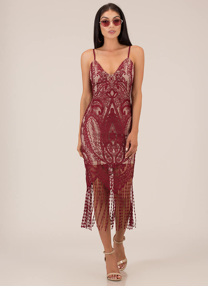you re invited lace fringe dress red black gojane com