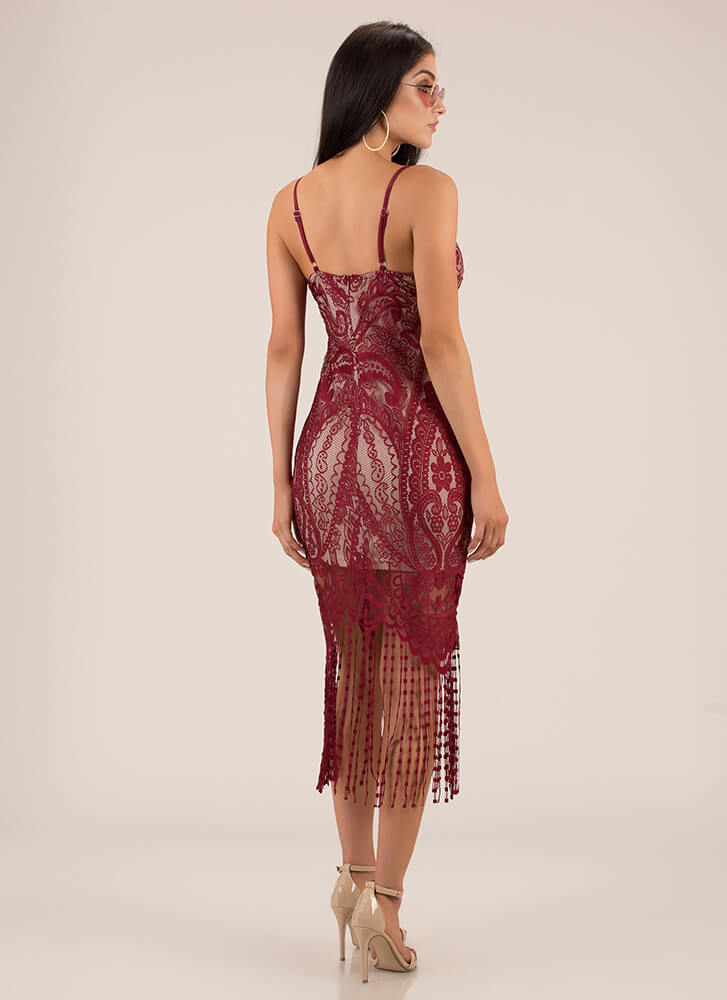 You're Invited Lace Fringe Dress RED