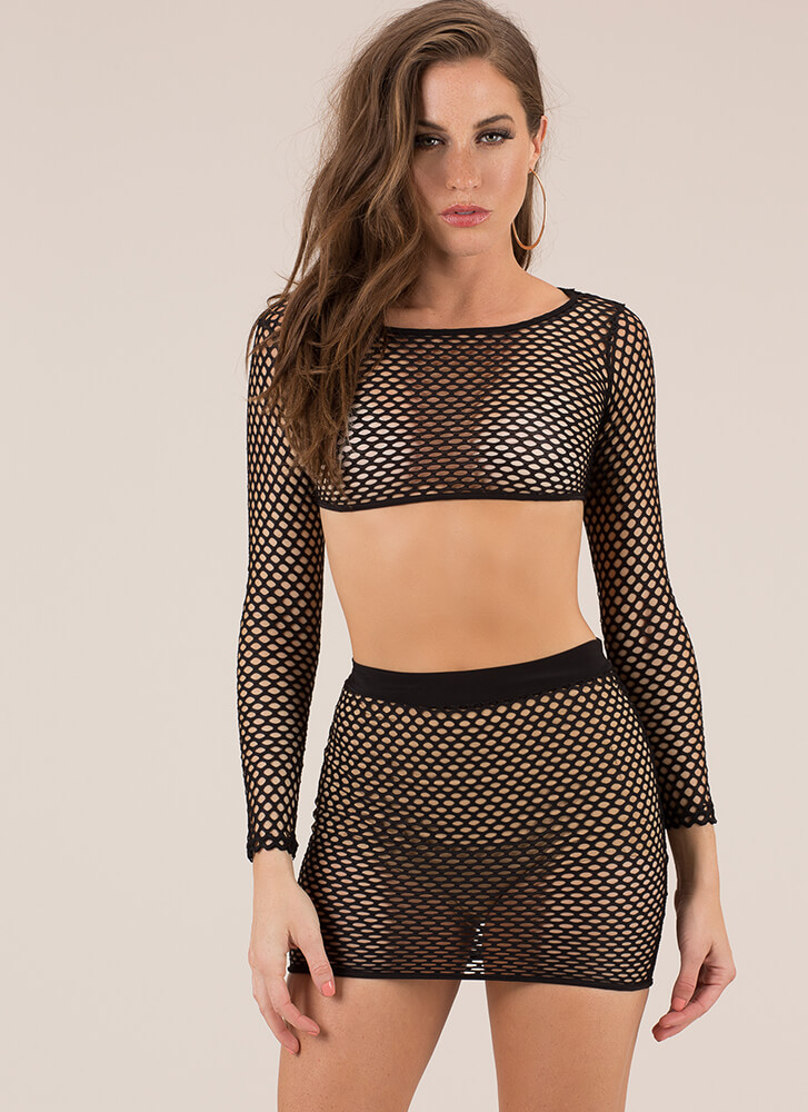 Nothin' But Net Two-Piece Minidress BLACK