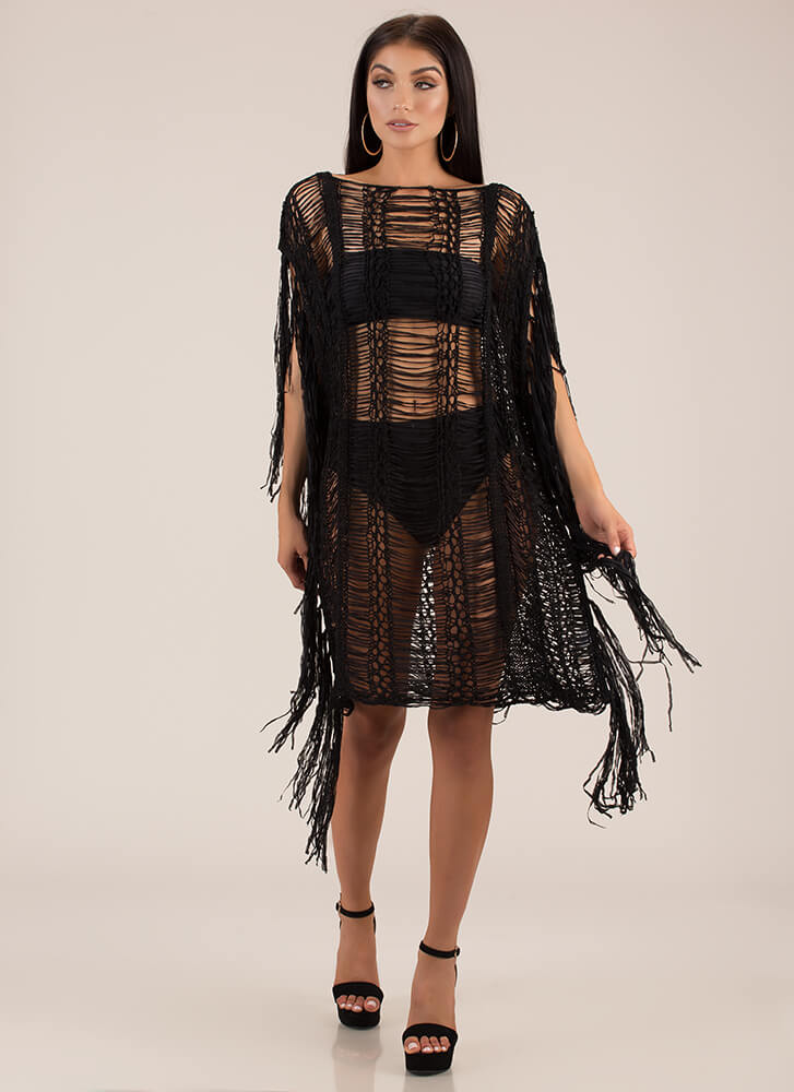Fringe And Tassels Crochet Dress BLACK