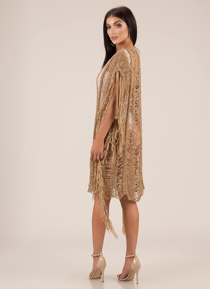 Fringe And Tassels Crochet Dress TAUPE