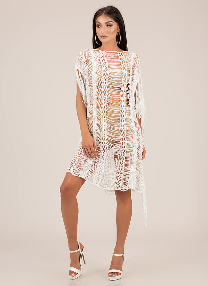 Fringe And Tassels Crochet Dress WHITE