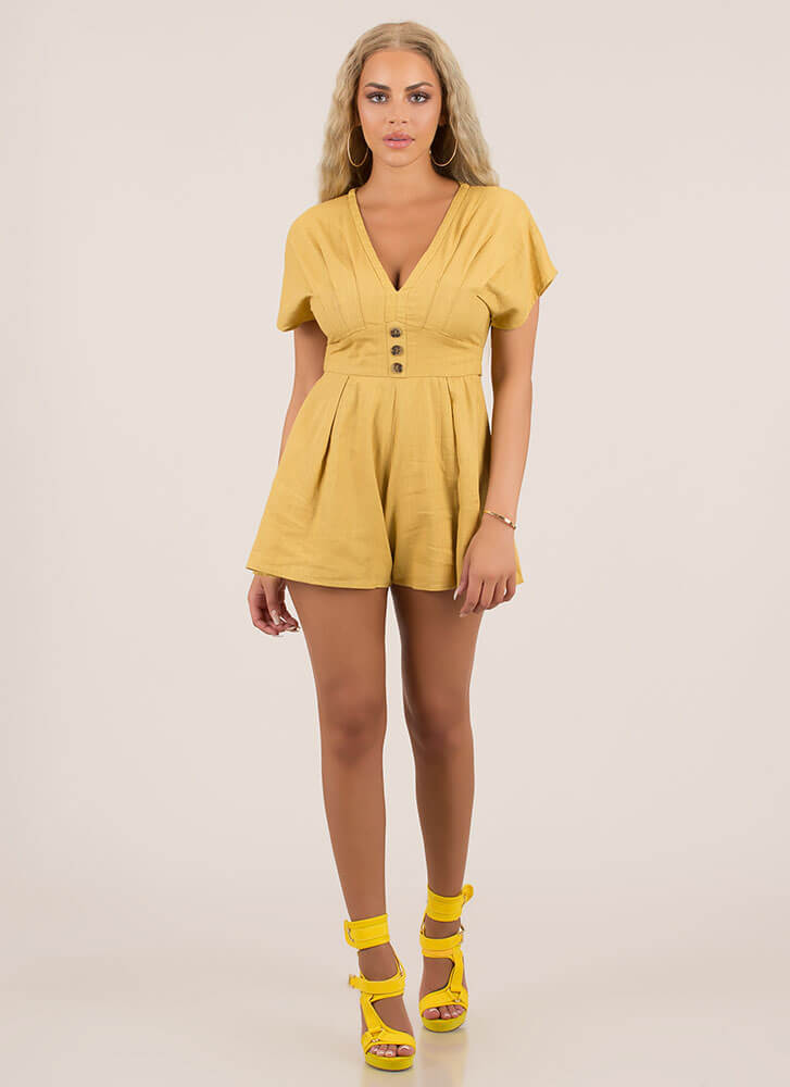 Pleating Lady Tied Flared Romper MUSTARD