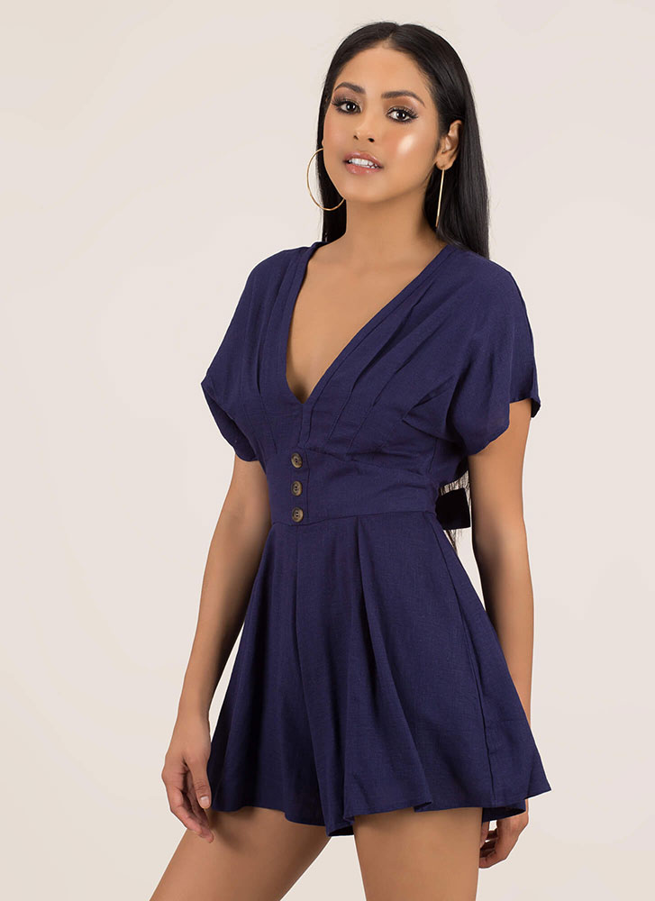 Pleating Lady Tied Flared Romper NAVY