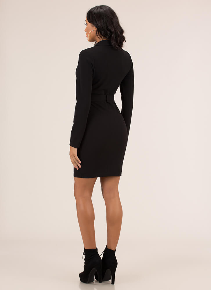 Get The Edge Belted Collared Dress BLACK