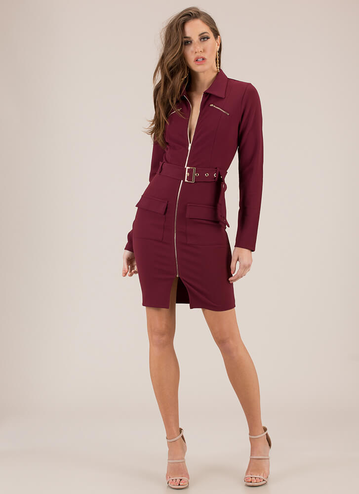 Get The Edge Belted Collared Dress BURGUNDY