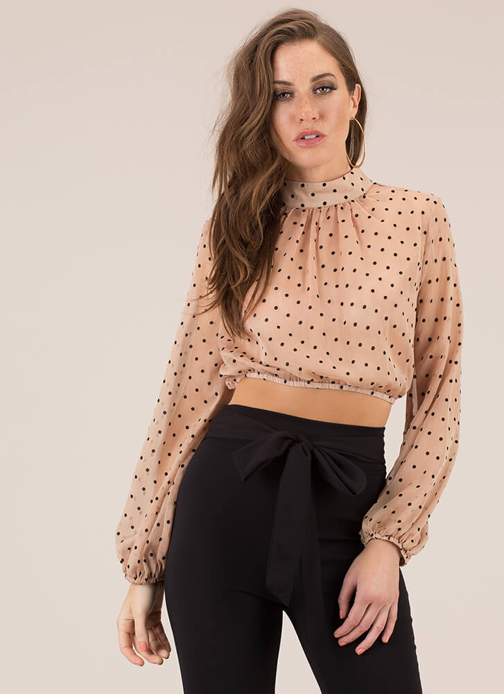 Perfect Spot Cropped Polka Dot Blouse NUDE