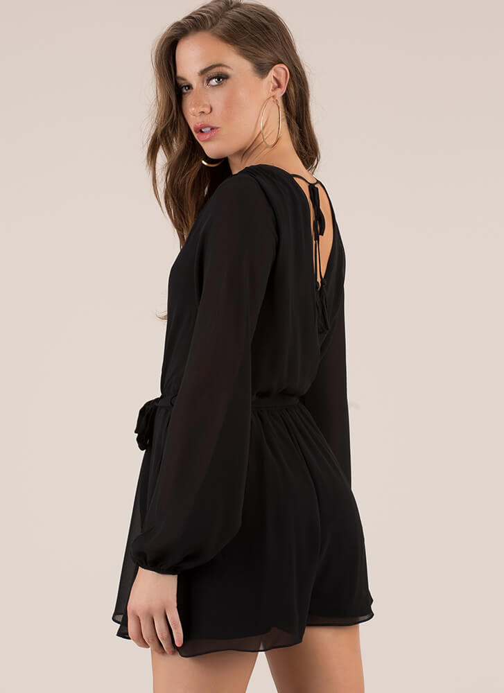 Because I'm A Lady Tied Romper BLACK