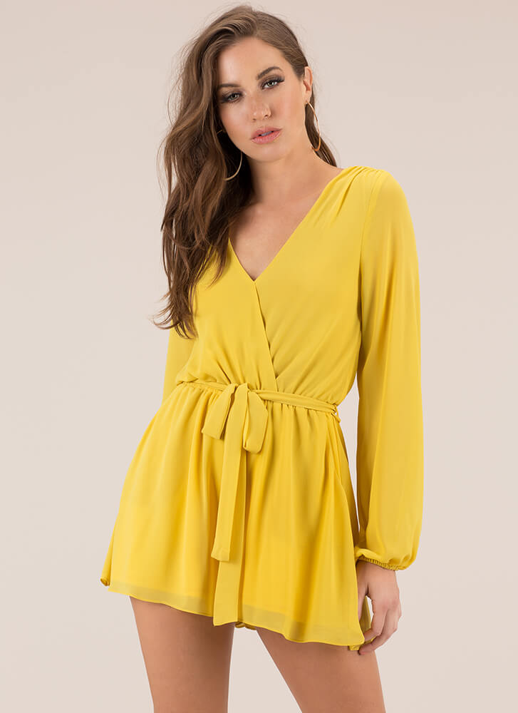 Because I'm A Lady Tied Romper MUSTARD