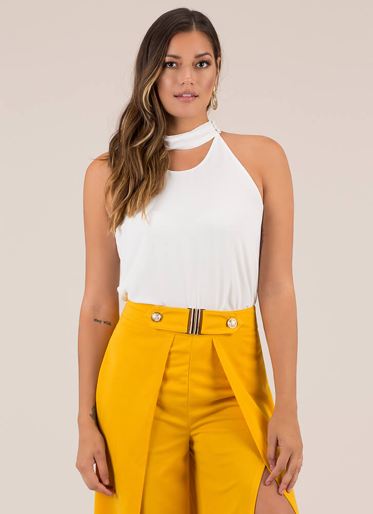 Neck And Neck Collared Tank Top WHITE