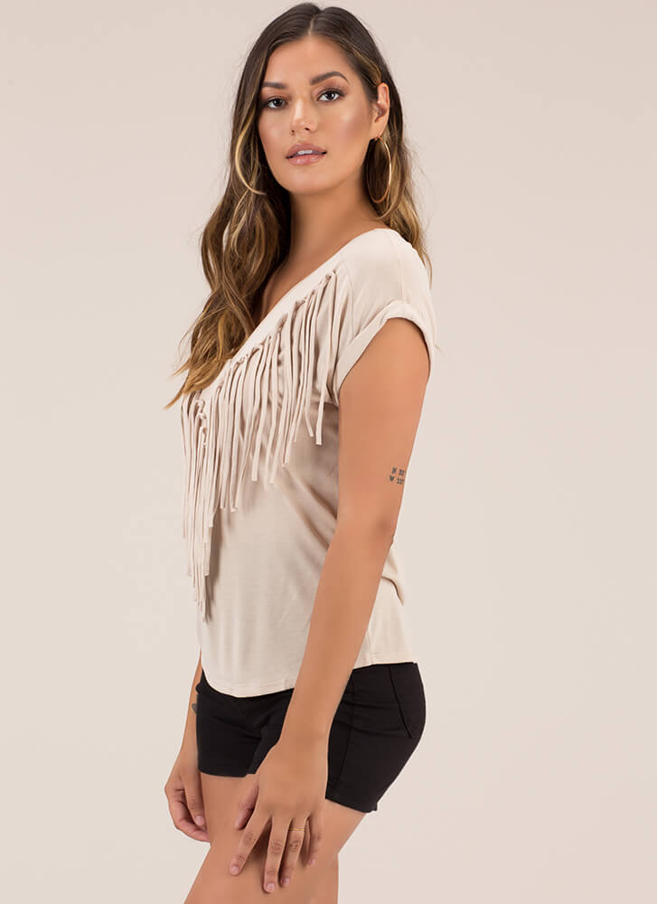 Knotty List Fringed Dolman Top OYSTER
