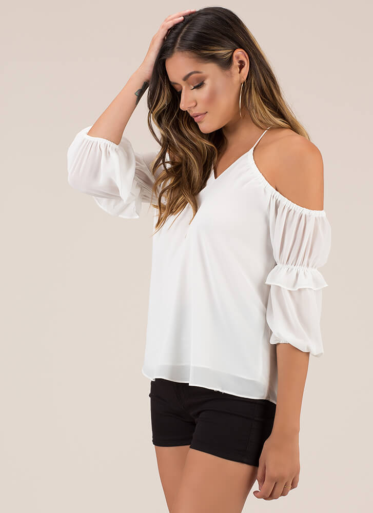 Ruffled Romance Cold-Shoulder Top WHITE