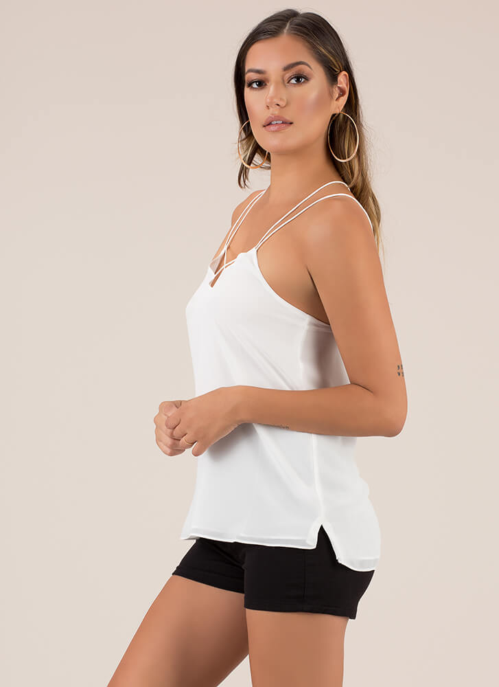 Strappy Days And Nights Sleeveless Top WHITE