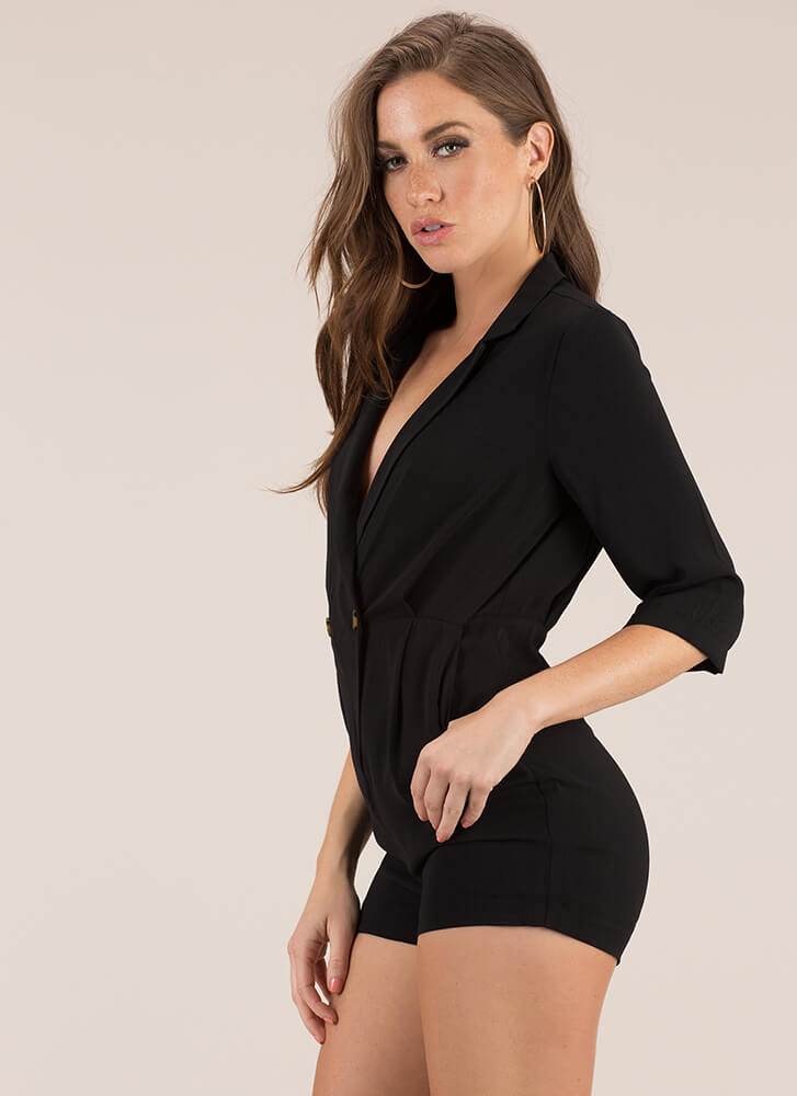 Perfectly Suited For My Blazer Romper BLACK
