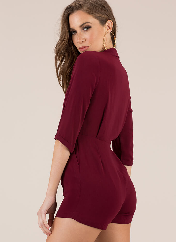 Perfectly Suited For My Blazer Romper MAHOGANY