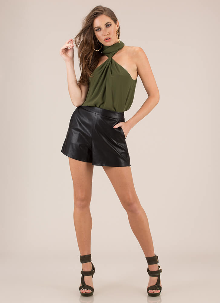 Necks Time Draped High-Neck Top  OLIVE
