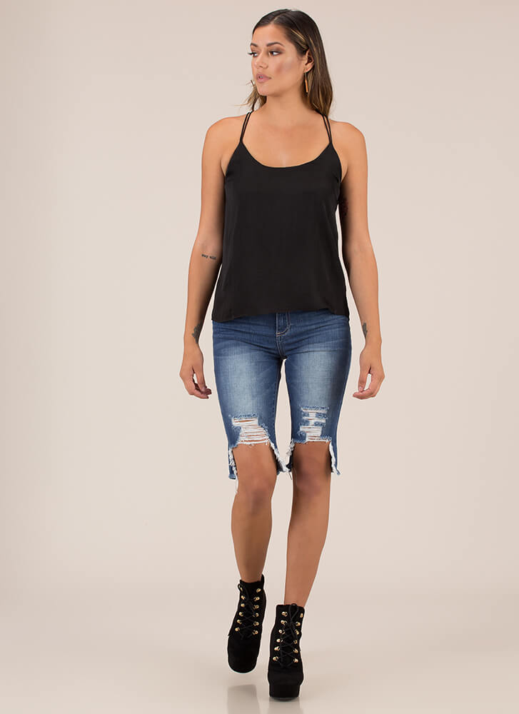 Go With The Flow Strappy Back Tank Top BLACK